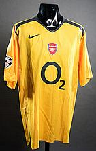 Johan Djourou: a yellow Arsenal No.36 Champions League match-issued away jersey season 2005-06