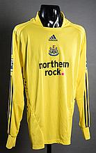 Shay Given: a yellow Newcastle United No.1 Premier League goalkeeping jersey circa 2008