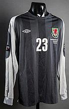 Jason Brown: a grey Wales No.23 bench-worn international goalkeeping jersey from the Carling Nations Cup match v Republic of Ireland played at the Aviva Stadium