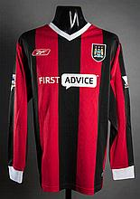 Nicolas Anelka: a red & black striped Manchester City No.39 match-issued Premier League away jersey season 2003-04