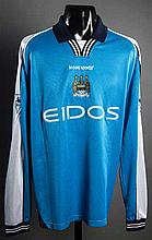 Jeff Whitley: a sky blue Manchester City match-issued Premier League No.18 jersey season circa 2000