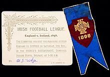 Irish Football Association committee member's ribbon for the Irish League v Football League representative match played at Grosvenor Park