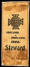 Steward's ribbon for the Ireland v England international football match played at Solitude 15th February 1908