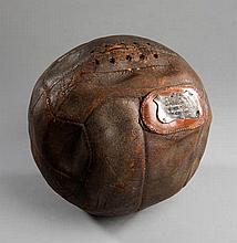 The match ball from the F.A. Cup semi-final West Bromwich Albion v Blackburn Rovers played at Liverpool Football Club's Anfield Ground 30th March 1912