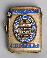 Colman's Mustard vesta case commemorating the victory of Manchester United in 1909 F.A. Cup final