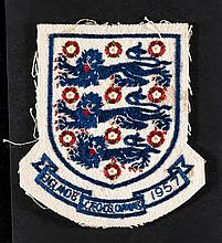 Alan A'Court England U-23 shirt badge v Czechoslovakia 1957  This match was played in Bratislava 30th May 1957. England won 2-0. Both goals were scored by Duncan Edwards.