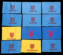 Twelve Football Association Wembley Stadium steward's armbands