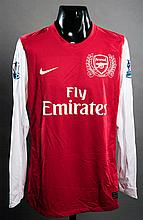 Bacary Sagna: a red & white Arsenal No.3 match-issued Premier League jersey season 2011-12