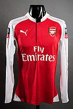 Laurent Koscielny: a red & white Arsenal No.6 match-issued F.A. Cup jersey season 2015-16