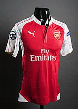 Santi Cazorla: a red & white Arsenal No.19 match-issued Champions League jersey season 2015-16
