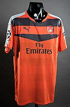 Petr Cech: an orange Arsenal No.33 match-issued Champions League goalkeeping jersey season 2015-16