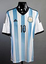 Lionel Messi blue & white striped Argentina No.10 jersey issued for the match v Romania 5th March 2014