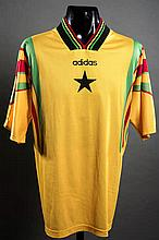 Mohammed Gargo: a yellow Ghana No.6 international jersey from the match v Holland played in Arnheim 13th October 1998