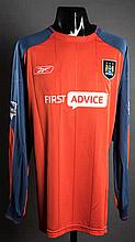 Arni Gautur Arason: an orange & navy blue Manchester City No.25 match-issued Premier League goalkeeping jersey season 2003-04