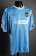 Shaun Wright-Phillips: a sky blue Manchester City No.29 match-issued Premier League jersey season 2003-04