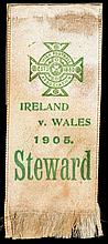 Steward's ribbon for the Ireland v Wales international football match played at Solitude 8th April 1905
