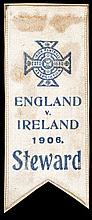 Steward's ribbon for the Ireland v England international football match played at Solitude 17th February 1906