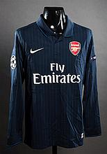 Eduardo: a navy blue Arsenal No.9 match-issued Champions League away jersey season 2009-10