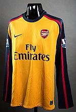 Jack Wilshere: a yellow & blue Arsenal No.19 match-issued Premier League away jersey season 2008-09