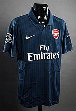 Thomas Vermaelen: a navy blue Arsenal No.5 match-issued Champions League away jersey season 2009-10