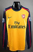Nicklas Bendtner's yellow & navy blue Arsenal No.26 away jersey worn in the Premier League match v Sunderland at the Stadium of Light 4th October 2008
