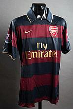 Denilson: a red & dark blue hooped Arsenal No.15 match-issued Premier League away jersey season 2007-08