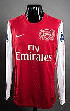 Kieran Gibbs: a red & white Arsenal No.28 match-issued Premier League jersey season 2011-12