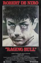 Jake La Motta signed poster for the movie ''Raging Bull'', the image featur