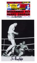 Sir Henry Cooper signed photograph and postcard, both relating to the fight
