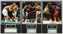 A fine trio of Muhammad Ali signed photographic displays for the three Cham