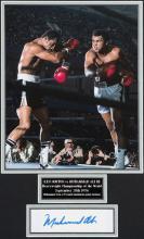 Muhammad Ali signed photographic display for the Ken Norton III Championshi