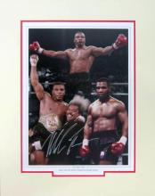 Mike Tyson signed & mounted colour Heavyweight Boxing Champion photographic