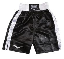Mike Tyson signed boxing trunks, black & white 'satin' Everlast, signed in