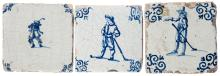 Three antique Dutch Delft blue & white wall tiles depicting the game of kol