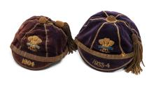 Two Wales Rugby Football Union International Trial caps, the first dated 19