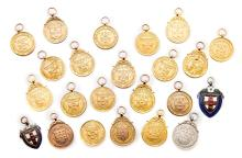 A collection of 23 North Riding County Football Association medals, dating