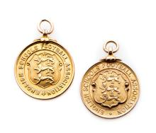Two English Schools' Football Association medals, both 9ct. gold and inscri