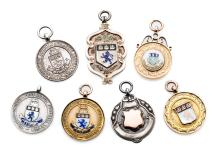 Seven medals relating to football in Middlesbrough, 2 cased, three in 9ct.