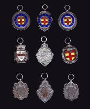 A group of nine medals relating to football in Kent in the 1930s, by Cronee