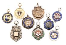 Nine medals relating to football in Southern England, including a cased 9ct
