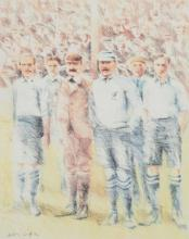 Terry Venables privately commissioned pair of pastel drawings by the artist