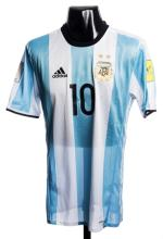Lionel Messi blue & white striped Argentina v Colombia international jersey