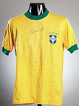 A yellow Brazil No.10 jersey circa 1971 signed by