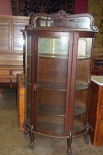 Round Oak China Cabinet Claw Feet Bevel Mirror -
