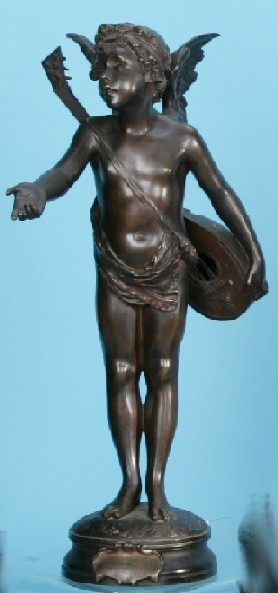 GODEBSKI, CYPRIEN (1835-1909 French) Bronze figure ''L'Amour  Mendiant'', signed Godebski, approximate height 20 1/2''.
