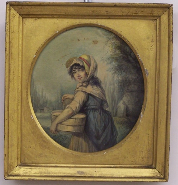 VIOLET, PIERRE NOEL (1749-1819 French) Portrait of a woman carrying a basket, framed oval-form watercolor on paper mounted to wood panel, approximate image 7 3/8'' x 6 1/4'', approximate frame 10'' x 9'', signed far right center.