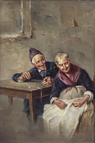 FRIGERIO, RAFFAELE (19th/20th Century Italian) Playful couple, framed oil on canvas, approximate image 12 3/4'' x 8 7/8'', approximate frame 18'' x 14''.