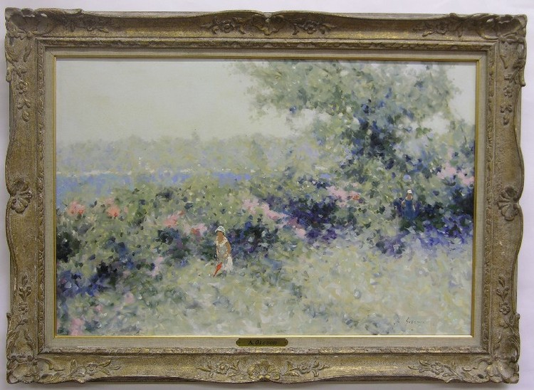 GISSON, ANDRE (Born 1910 French) Figures walking through a flowering meadow, framed oil on canvas, approximate image 24'' x 36'', approximate frame 31'' x 43'', signed lower right.
