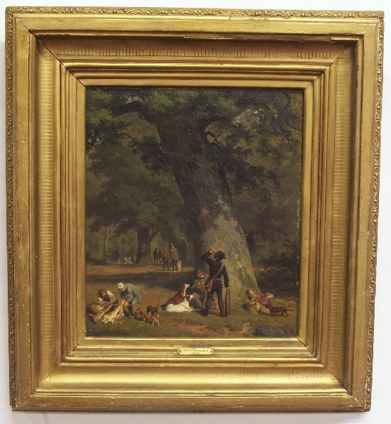SIMMLER, WILHELM (1840-1914 German) Park scene with hunters resting with dogs, framed oil on canvas, approximate image 14 3/4'' x 12 3/4'', approximate frame 23'' x 21'', signed lower left.
