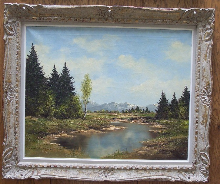 MOSER, KURT (1925-1984 Austrian) Vast landscape with river and mountains in the distance, framed oil on canvas, approximate image 24'' x 30'', frame 31'' x 37'', signed lower left.